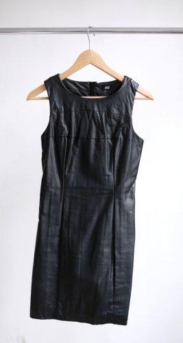 H&M Vestido de cuero negro Imitación de cuero