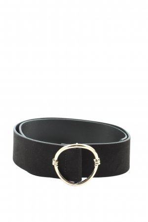 H&M Cinturón de cuero de imitación negro-color oro estilo «business»