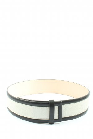H&M Lederimitatgürtel weiß-schwarz Elegant