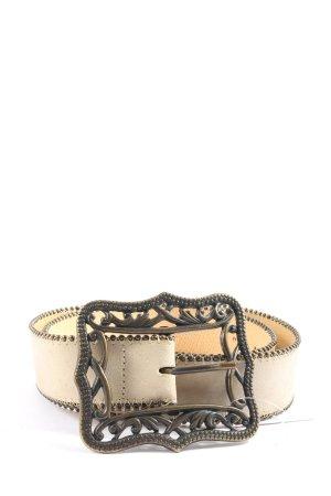 H&M Cinturón de cuero de imitación crema elegante