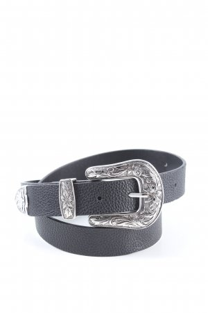 H&M Faux Leather Belt black-silver-colored casual look