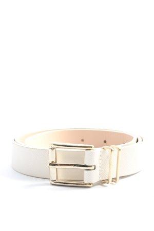 H&M Cinturón de cuero de imitación blanco-color oro look casual