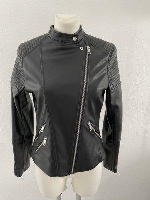 H&M Lederjacke gr 38 schwarz Fake Bikerlook