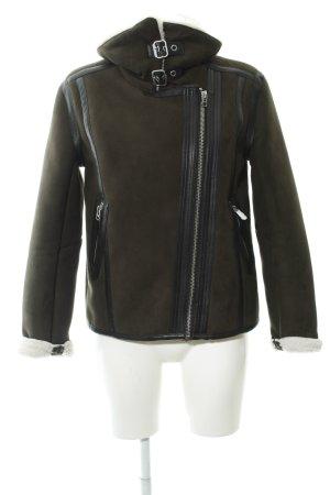 H&M Lederjacke khaki-wollweiß Casual-Look