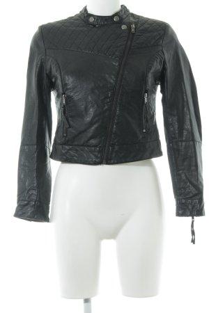 H&M Lederjacke schwarz Metallknöpfe