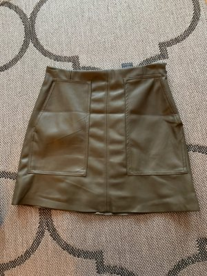 H&M Leather Skirt olive green-khaki