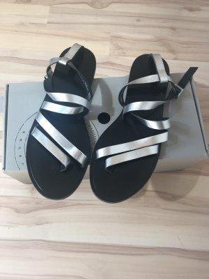 H&M Premium Sandalo con cinturino nero-argento Pelle