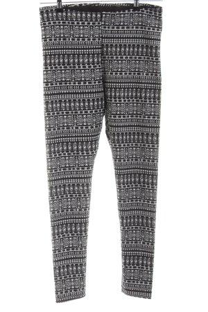 H&M Leggings weiß-schwarz abstraktes Muster Casual-Look