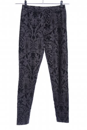 H&M Leggings hellgrau-schwarz abstraktes Muster Casual-Look