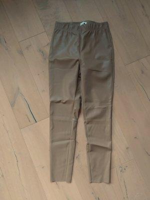 H&M Leggings Kunstleder Leder Imitat beige
