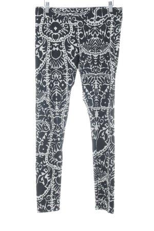 H&M Leggings schwarz-weiß florales Muster Casual-Look