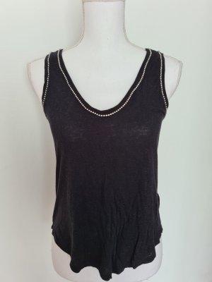 H&M Leinen dünnes Top Shirt Oberteil mit Steinchen V-Ausschnitt in schwarz S