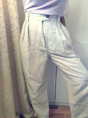 H&M Pantalón de lino gris claro-blanco puro