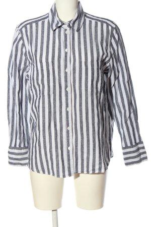H&M Linen Blouse white-light grey allover print business style