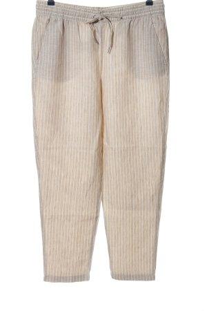 H&M Lniane spodnie w kolorze białej wełny-biały Na całej powierzchni