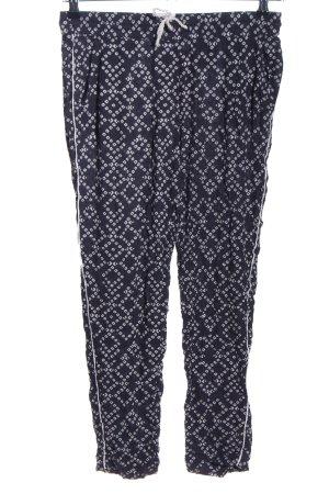 H&M Pantalone di lino nero-bianco stampa integrale stile casual