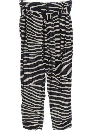H&M Pantalón de lino negro-blanco puro look casual