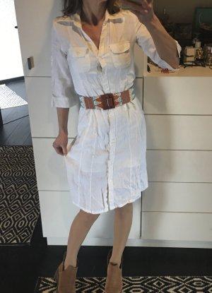 H&M Leinenkleid Hemdkleid Hemdblusenkleid Blusenkleid weiß Creme 36 Leinenhemd Vintage