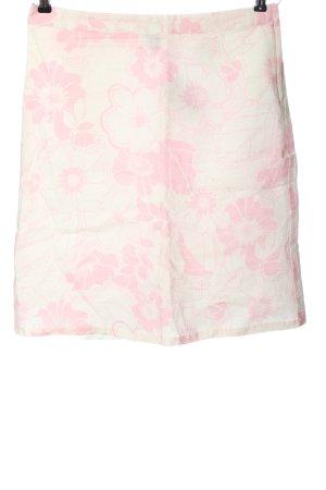 H&M Lniana spódnica biały-różowy Wzór w kwiaty W stylu casual