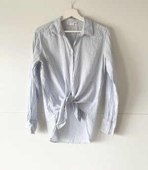 H&M LOGG Bluse blau weiss gesteift XS 34