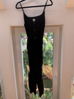H&M Logg Einteiler Jumpsuit schwarz Leinen