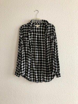 H&M Logg Hemd schwarz weiß kariert Flanellhemd