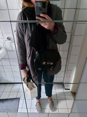 H&M Logg Jacke 40 Übergang Blouson Khaki Grau gesteppt tailliert Kordelzug