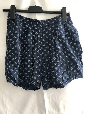 H&M Logg Shorts Viskose blau abstraktes Muster 38