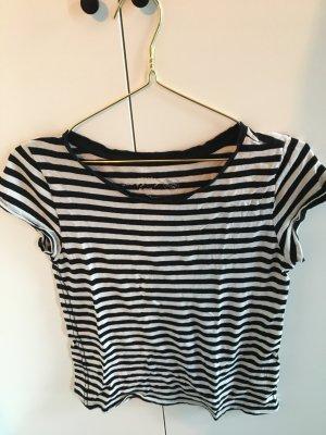 H&M Logg, T-Shirt, Streifenshirt, Ringel-Shirt, Schwarzweiß aus Bio-Baumwolle, Größe 34