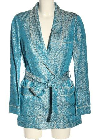 H&M Long-Blazer blau-silberfarben abstraktes Muster Casual-Look