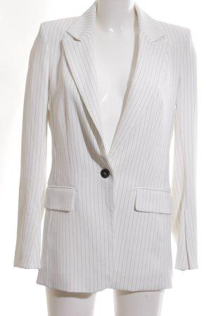 H&M Long-Blazer weiß-schwarz Streifenmuster Business-Look