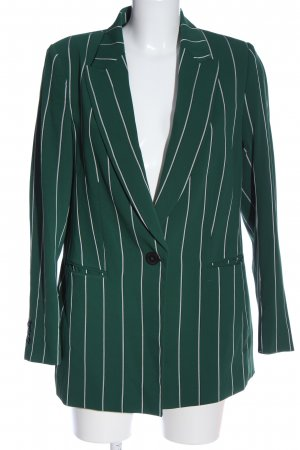 H&M Long-Blazer grün-weiß Streifenmuster Business-Look