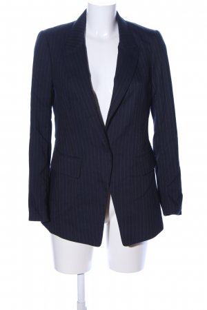 H&M Long-Blazer blau-hellgrau Streifenmuster Business-Look