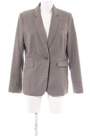 H&M Long-Blazer braun-wollweiß Allover-Druck Business-Look