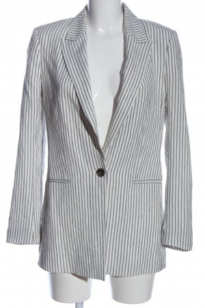 H&M Long-Blazer weiß-hellgrau Streifenmuster Business-Look