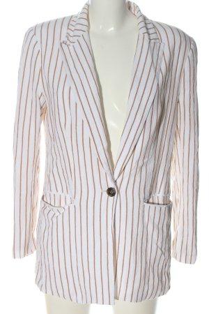 H&M Long-Blazer weiß-hellorange Streifenmuster Casual-Look