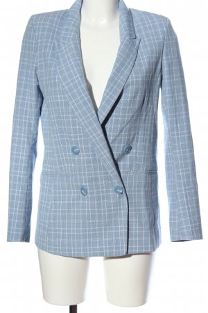 H&M Long-Blazer blau-weiß Allover-Druck Business-Look