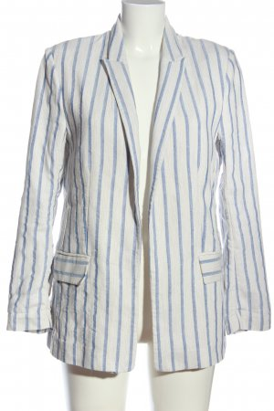 H&M Long-Blazer weiß-blau Allover-Druck Casual-Look