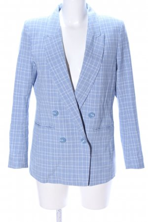 H&M Long-Blazer blau-weiß Karomuster Business-Look