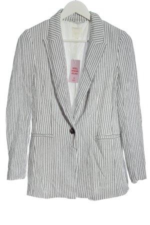 H&M Long Blazer white-light grey allover print business style
