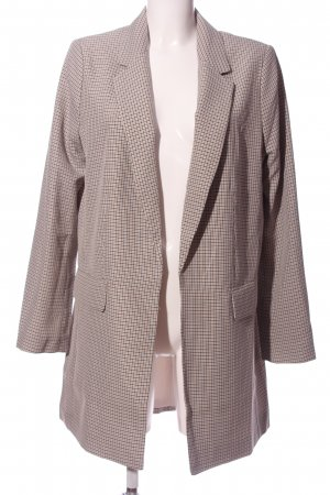 H&M Long-Blazer creme-schwarz Karomuster Street-Fashion-Look