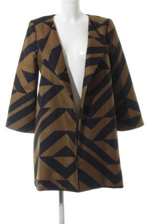 H&M Long-Blazer bronzefarben-schwarz grafisches Muster Casual-Look