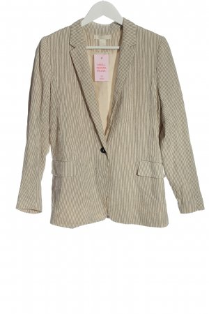 H&M Long Blazer natural white-brown striped pattern casual look