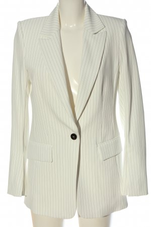 H&M Long-Blazer weiß Streifenmuster Business-Look