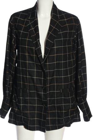 H&M Long Blazer black-natural white check pattern business style