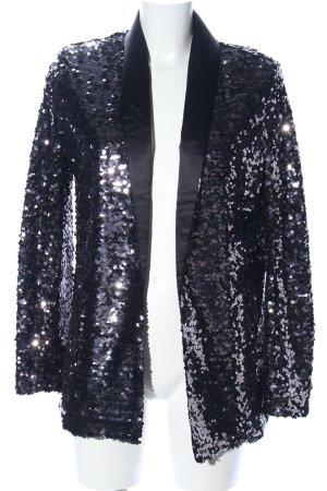 H&M Long-Blazer schwarz Glitzer-Optik