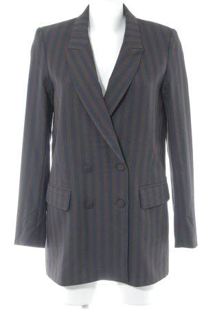 H&M Long-Blazer dunkelblau-karminrot Streifenmuster Business-Look