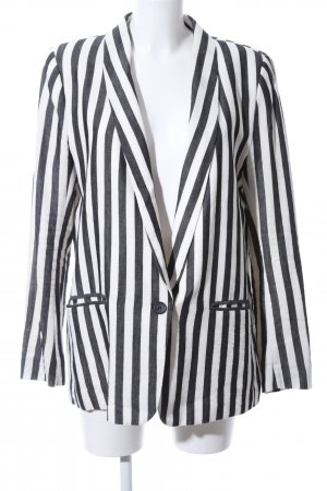 H&M Long-Blazer schwarz-weiß Streifenmuster Casual-Look