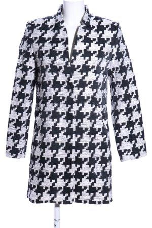 H&M Long-Blazer schwarz-weiß grafisches Muster Casual-Look