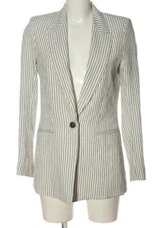H&M Long-Blazer weiß-schwarz Allover-Druck Casual-Look